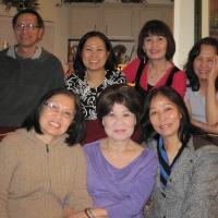 Luận, Tuyết, Bông, Hà Xưa (đứng) Mai, Cô Cúc, Khanh ( ngồi)